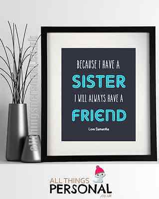 Personalised Sister Sisters Christmas Xmas Birthday Gift Print Present D2