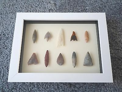 Neolithic Arrowheads in 3D Picture Frame, Authentic Artifacts 4000BC (0184)