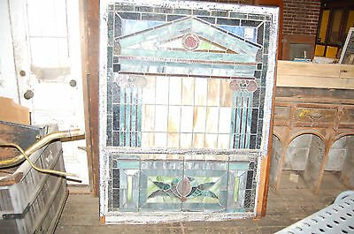 "Arts/craft 1915 Stained Glass Window From Ky Church Arhitectural Salvage 48""x77"""