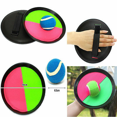 Velcro Catch Ball Set Green Pink Randonly Selected Children Fun Outdoor Toy Game