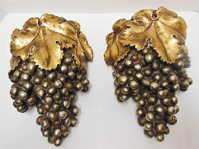 (2) Vintage Borghese Gold Gilt Plaster Chalkware Grape Cluster Wall Pockets