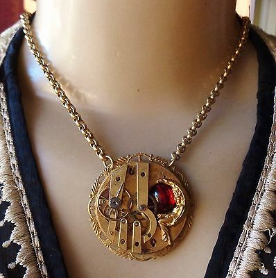 Vintage Steampunk Necklace Time Traveler Sleeping Goddess Watch Movement Pendant
