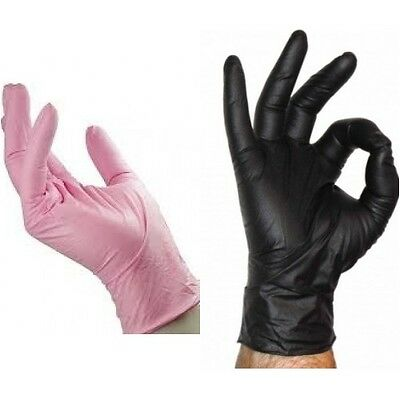 20 Pink Black Nitrile Disposable Gloves  Medical Powderfree Small Medium Large