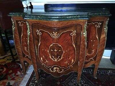 Louis XVI French Style Credenza Sideboard Cabinet Inlaid Wood With Marble Top