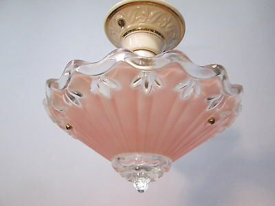 "Vintage Antique Art Deco Depression Era Pink Chandelier Light Fixture 10"" Long"