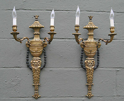 Antique Pair Bronze Two Socket Wall Sconces Circa 1920's With Ram Head Details