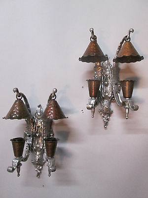 Antique Pair Slip Shade Wall Sconce Lights Art & Crafts Gothic Spanish Monterey