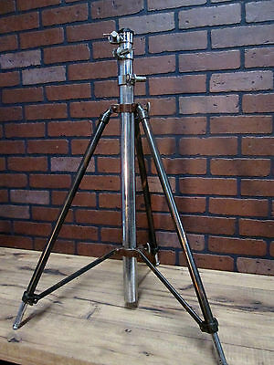 """Vintage Industrial Antique Japanned Finish Copper Camera Tripod 75"""" Full Height"""