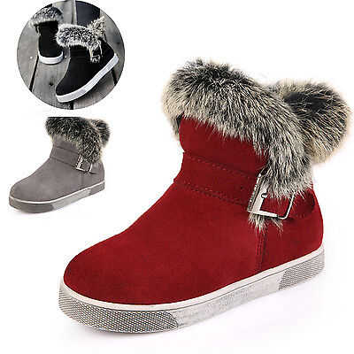 Kids Girls Winter Fur Leather Snow Ankle Boots Childrens Warm Buckle Flat Shoes