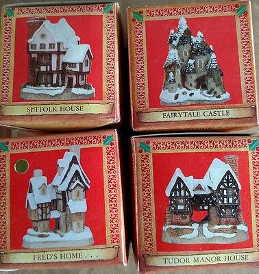 David Winter cottages Christmas ornaments set of 4 John hine studios