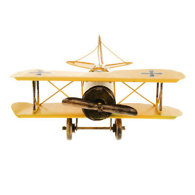 Vintage Metal Airplane Model Biplane Aircraft Home Office Decor Toy Yellow