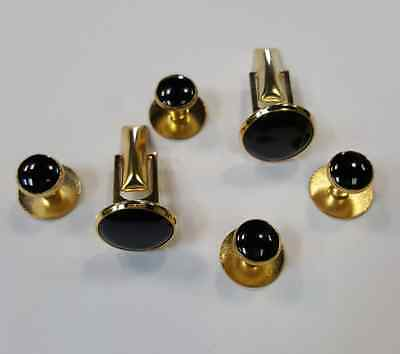 NEW Gold Black TUXXMAN Tuxedo Cuff links Shirt Studs Formal Round Cufflinks Set