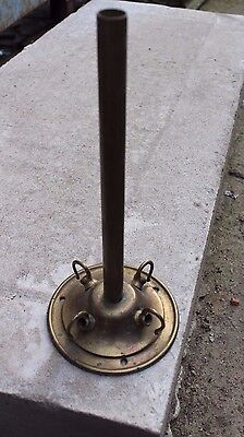 Reclaimed Victorian Heavy Brass Ceiling Rose - 4 hooks and brass wiring pipe