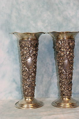 "Antique Pair 13"" Sterling Silver Vases Pierced & Embossed Strawberries 25.75 ozt"