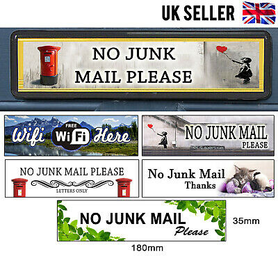 Self Adhesive Polite No Junk Mail Letterbox Leaflet Menus Flyers Door Sticker