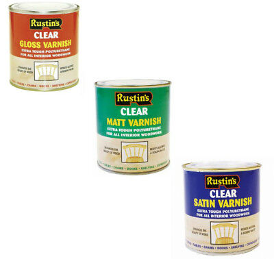 Rustins Polyurethane Gloss Matt Satin Varnish 250ml 500ml 1L 2.5L Clear