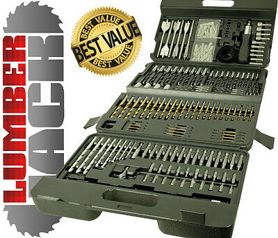 Lumberjack 205 Pc Piece Titanium HSS Masonry Metal Wood Drill Bit Set in Case