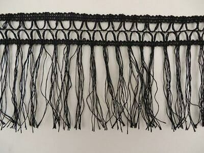 2m of black tassel fringe trimming, 11cm width, cheap craft dance edging