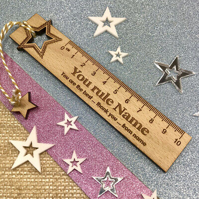 Personalised Teacher Gift End Of Term Oak Ruler Bookmark Thank You Present Gifts