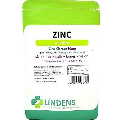 Zinc Citrate 50mg Tablets 100 Pack Sexual Health Acne Immune Lindens