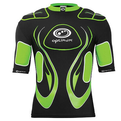 Optimum Inferno Kids Rugby Body Protection Shoulder Pads Black/ Green