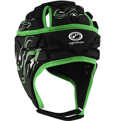 Optimum Inferno Kids Rugby Headguard Scrumcap Black/ Green