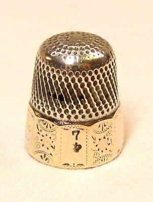 Antique Victorian H. Muhr's Sons Sterling Silver Gold Band Thimble  Dtd 1889