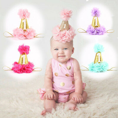 New Cute Baby Girls Boys Flower Crown 1st Birthday Party Hat Headband Hairband