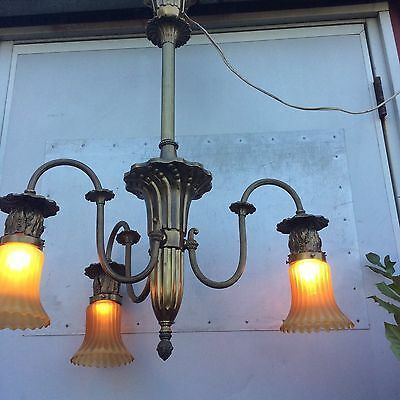Victorian Modern Gaslight Chandelier Electrified Ornate Brass Art Glass Globes