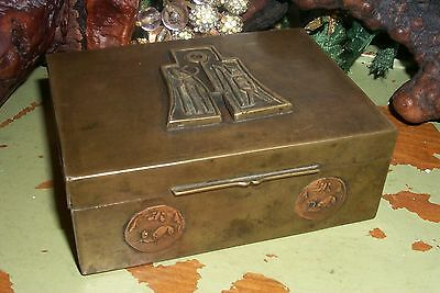 Antique Chinese Brass Bronze Tobacco Box Cigarette Box W/Copper Decor Wood Lined