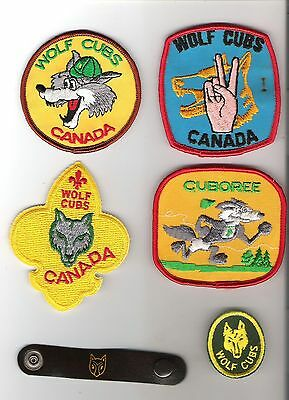 Scouts Canada  - Wolf Cubs - lot of 5 crests + leather woggle