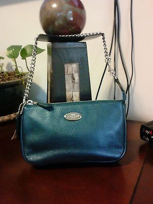 AUTHENTIC Coach~Pebbled Leather Large Wristlet Metallic Blue F53340 Silver Chain