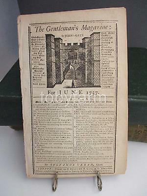 JUNE 1757 ORIG GENTLEMANS MAGAZINE w/map SEAT OF WAR IN THE CIRCLE WESTPHALIA