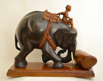 elephant carved wooden statue