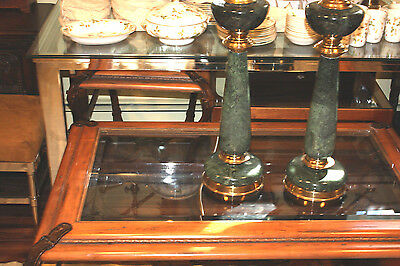 Pair Antique Green Marble Lamps