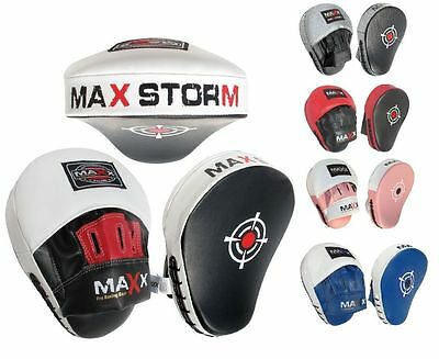 Maxx Maya Hide Leather Gel Curved Focus Pads Hook & Jab Kick Boxing Punch MMA UF