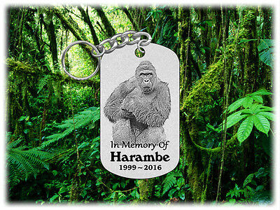 HARAMBE Gorilla Dog Tag Keychain -Laser Engraved Stainless Steel