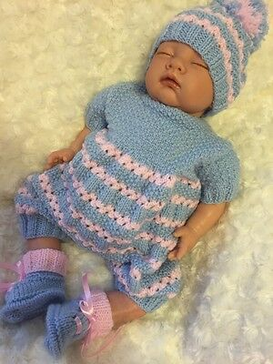 "New: Cute 3 Piece Knitted Outfit For 20"" Reborn Baby Girl"