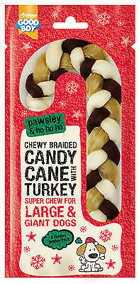 Armitage Pawsley Christmas Braided Candy Cane Turkey Large 22cm for Dogs & Pups