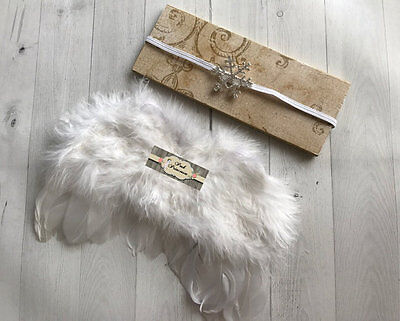 Newborn Baby Girl White Feather Angel Wings & Headband Set