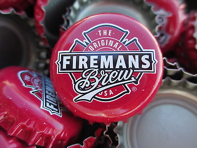 100  ((( Red Fireman's Brew ))) Beer Bottle Caps (No Dents). Free Shipping