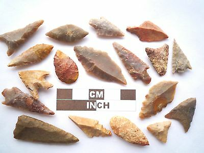 Neolithic Arrowheads x 18, High Quality Selection of Styles - 4000BC - (Z063)