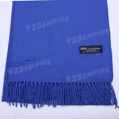 Women 100% CASHMERE Warm PLAIN Scarf pure solid Royal Blue Wool MADE IN SCOTLAND