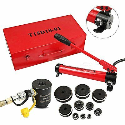 Hydraulic Knockout Punch Driver Kit 15 Ton 10 Dies Conduit Hole Tool 11 14 Gauge