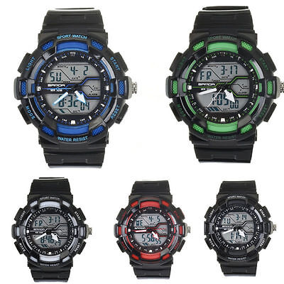 Waterproof Digital LCD Date Mens Military Sport Rubber Quartz Watch