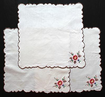 3x Embroidered Napkins Doilies Off White 30cm Square Flowers Floral