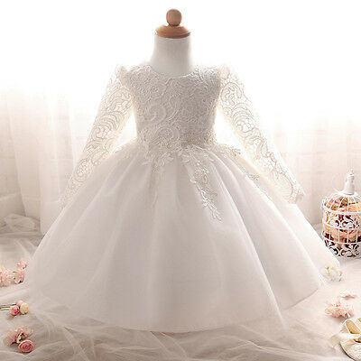 Baby Girl Christening Dresses Embroidered Princess Floral Baptism Gown Dress