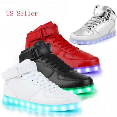 NEW 2016 High Top Sports Shoes 7 Led Light Lace Up sneaker Luminous Casual Shoes