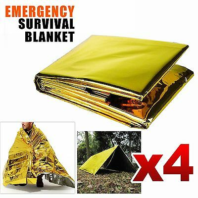 4Pcs Emergency Survival Rescue Foil Blanket Space Thermal Outdoor First Aid Tent