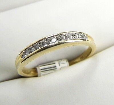 Genuine DIAMOND 10K Yellow Gold Band Ring size 7.5